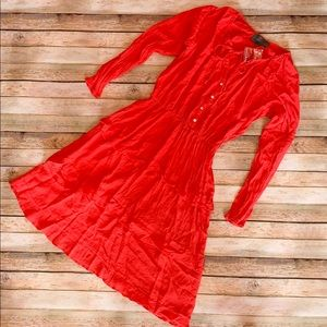Anthropologie red peasant dress Small